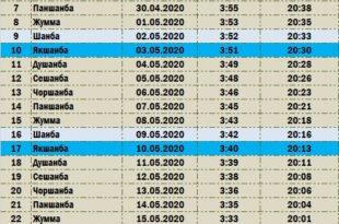 Расписание месяца Рамадан 2020 г. для городов Узбекистана (Ташкентское время)